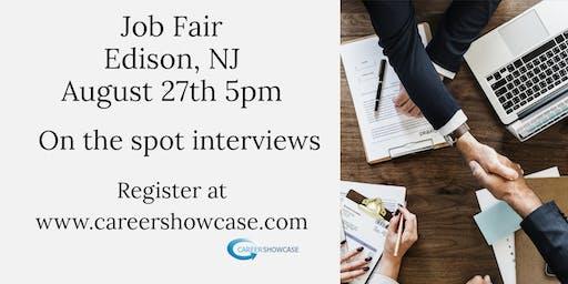 EDISON, NJ JOB FAIR - TUESDAY AUGUST 27..MANY NEW COMPANIES @5pm