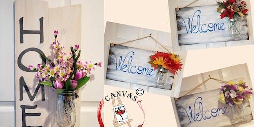 Home or Welcome Mason Jar Board