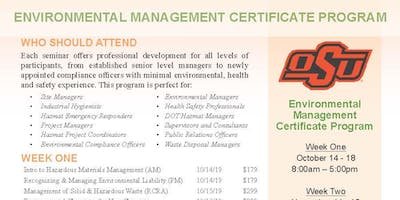 Environmental Management Certificate Program Courses-Oct.14-18 & Nov. 11-15