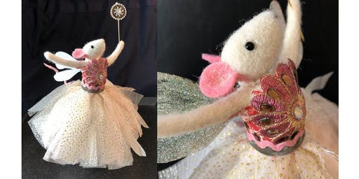 NEEDLE FELTED MOUSE FAIRY TREE TOPPER