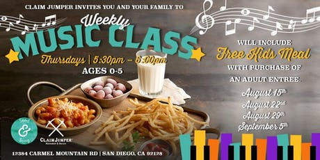 Free Weekly Music Class for Kids tickets
