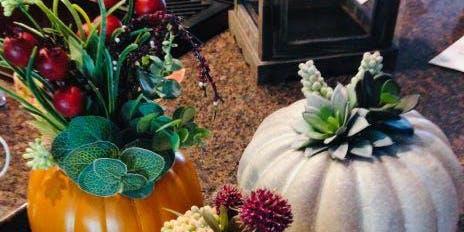 Faux Pumpkin Floral Centerpiece