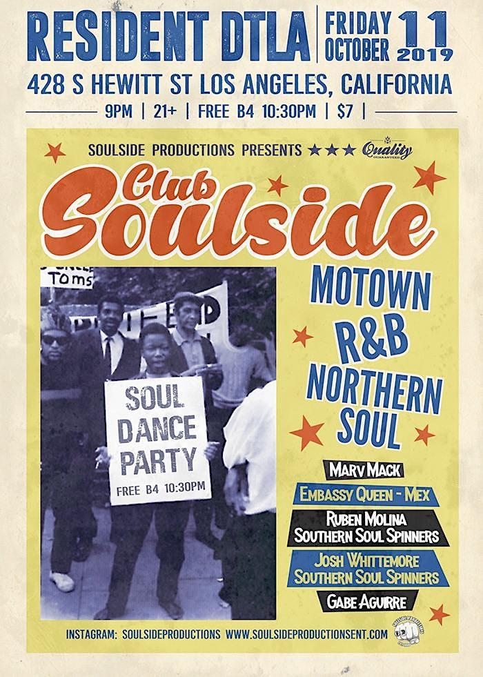 Club Soulside - Free B4 10:30 PM | R&B, Northern Soul, Boss Reggae, Motown