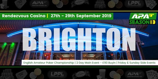 APAT Brighton 28th-29th Sept 2019 Seat Reservation (English Amateur Poker Championship)