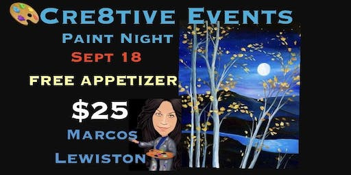 $25 Paint Night with FREE APPETIZER Yay ! @ Marcos Lewiston