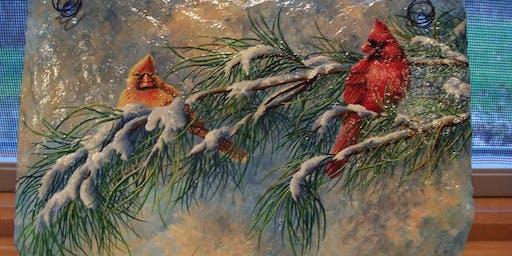 Wintertime Slate Painting