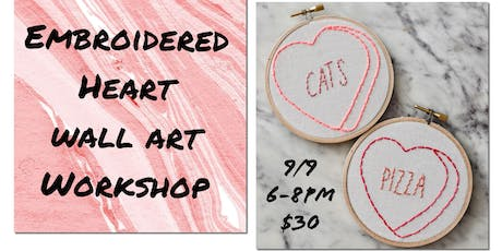 Embroidered Heart Wall Art Workshop tickets