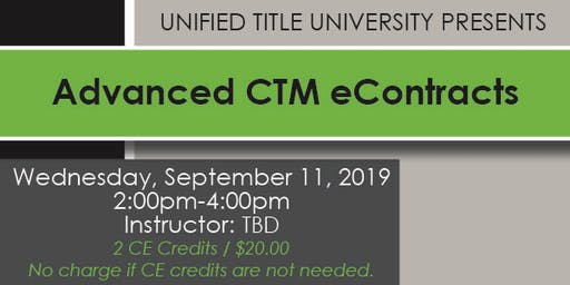 Colorado Springs - Advanced CTM eContracts Class