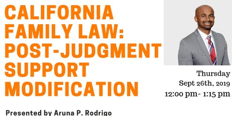 MCLE- California Family Law: Post-judgment support modification tickets