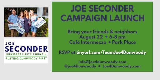 Joe Seconder for Dunwoody City Council Kickoff