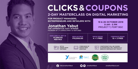 Clicks+Coupons: 2-Day Masterclass on Digital Marketing with Jonathan Yabut tickets