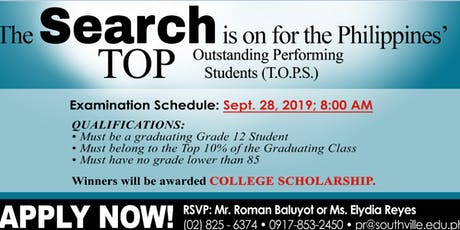 Search for the Top Outstanding Performing Students (T.O.P.S.) tickets