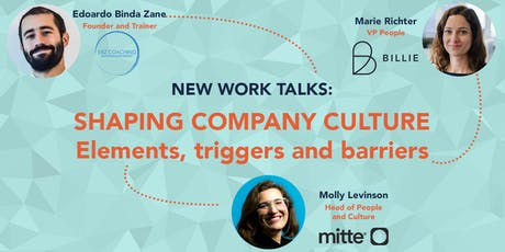 New Work Talks - Shaping company culture: elements, triggers and barriers Tickets