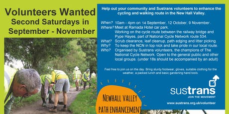 Sustrans Volunteers Task Day - Sutton Coldfield tickets