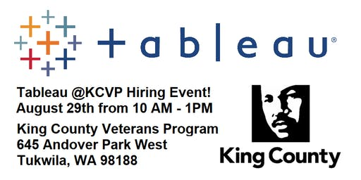 Tableau Networking & Hiring Event @ King County Veterans Program Tukwila