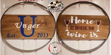 Wine Barrel Hoop Sign at Sleepy Cat Urban Winery tickets
