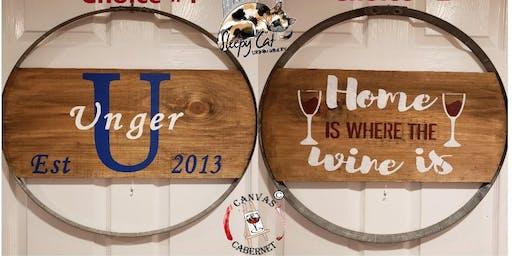 Wine Barrel Hoop Sign at Sleepy Cat Urban Winery