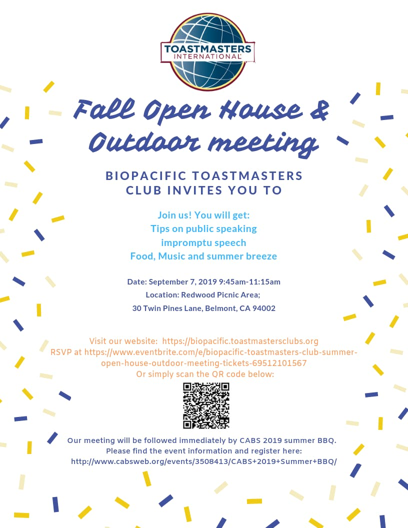 Biopacific Toastmasters Club Summer Open House & outdoor meeting
