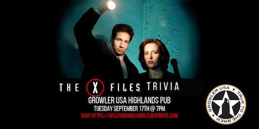 The X-Files Trivia at Growler USA Highlands Pub