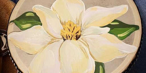 Paint Your Magnolia Tambourine