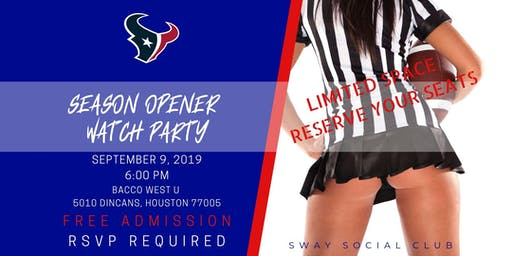 SWAY Social Club: Texans Season Opener Watch Party