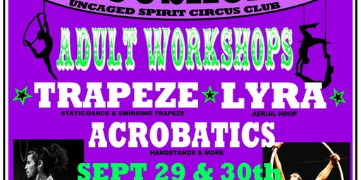 ~~ CiRcUs Xcape Spring 2019~~ ADULTS ~ TRAPEZE - AERIAL HOOP - ACROBATICS WORKSHOPS with Seth Sheuner