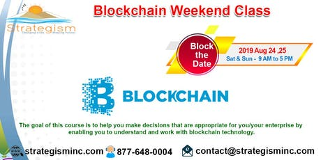 Blockchain weekend training in Fremont-Aug 24,25,2019 tickets