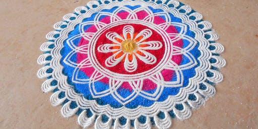 rangoli patterns workshop at the Beckenham Indian Summer Food and Craft Market