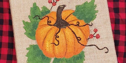 Pumpkin Burlap Canvas Painting