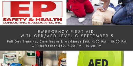 Emergency First Aid with CPR/AED Level C September 5 tickets