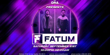 Fatum at Ora tickets
