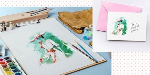 Create fashion sketch cards in watercolour pencils