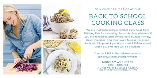 Back to School Cooking Class with Chef Carly Paige