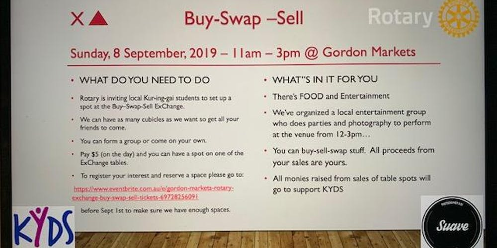 Gordon Markets Rotary ExChange Buy - Swap - Sell Tickets