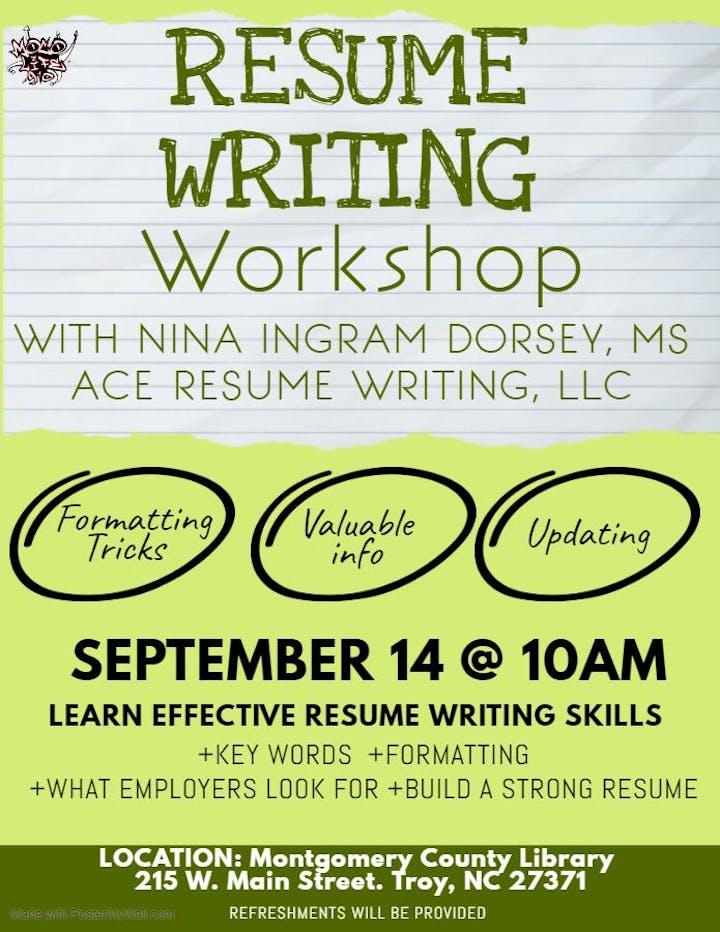 Resume Writing Workshop 14 Sep 2019
