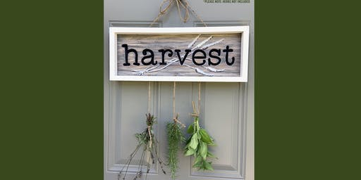 Engraved Wooden HARVEST sign - Framed Paint and Sip Party Art Maker Class