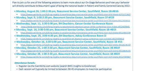 BMG Insights to Excellence - Beaumont Service Center, Southfield, Room #F29 tickets