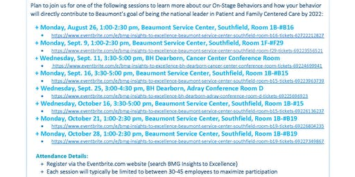 BMG Insights to Excellence - Beaumont Service Center, Southfield, Room #B15