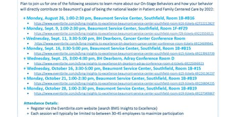 BMG Insights to Excellence - Beaumont Service Center, Southfield, Room #B15 tickets