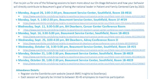 BMG Insights to Excellence - Beaumont Service Center, Southfield, Room #B19