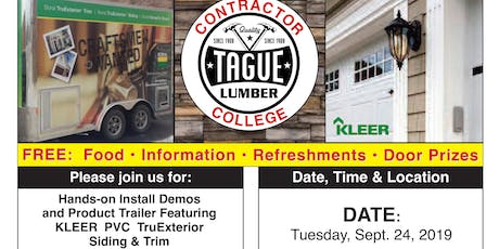 Tague Lumber Contractor College in Doylestown — KLEER PVC Trim & Siding tickets