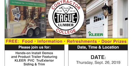 Tague Lumber Contractor College in Kennett Square — KLEER PVC Trim & Siding tickets