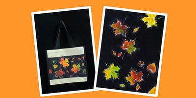 """Adult Open Paint (18yrs+) """"Autumn Lake"""" Canvas or Tote Bag"""