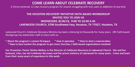 CELEBRATE RECOVERY:  HOW TO GET A MINISTRY STARTED - HRI FAITH-BASE WORKGROUP MONTHLY MEETING tickets