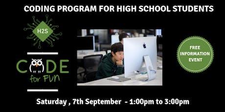 Hack High School Coding Program - Free September Information Event tickets