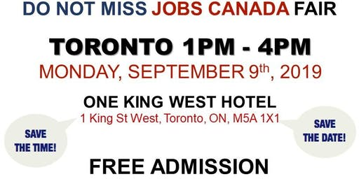 Free: Toronto Job Fair - September 9th, 2019