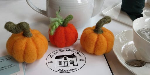 Needle Felt a Mini Pumpkin with a Pot of Tea