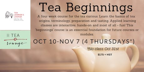 Tea Beginnings (4 weeks) tickets