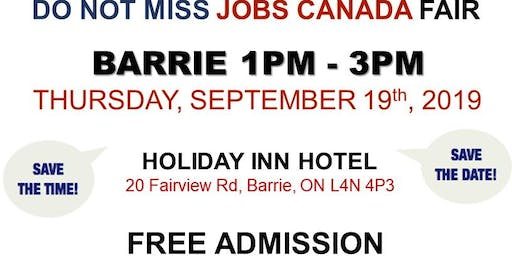 Barrie Job Fair – September 19th, 2019