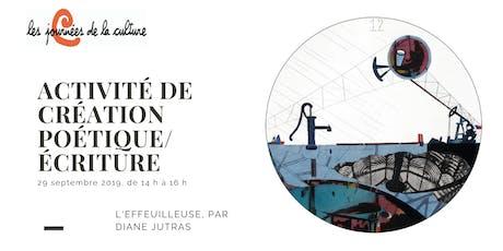 Activité de création poétique avec Diane Jutras billets